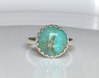 Turquoise Ring - Turquoise Crown Ring in Sterling Silver