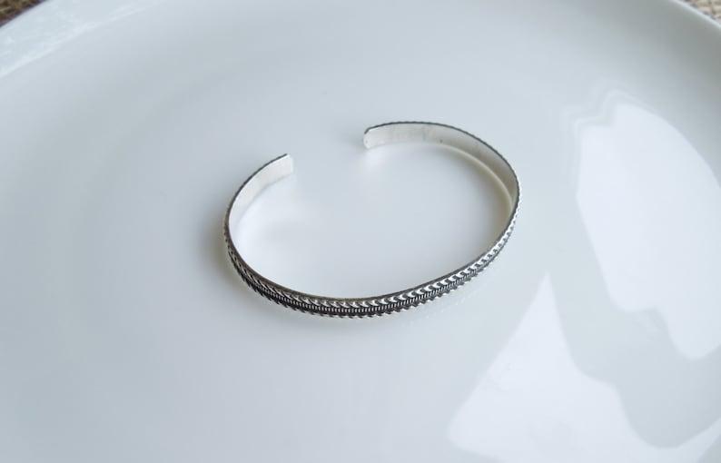 Adjustable Cuff Antiqued Rope Design Darkened Sterling Silver Cuff Bracelet