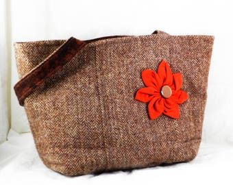 Harris Tweed, Handmade Wool Purse, Brown Tweed, Shoulder Bag