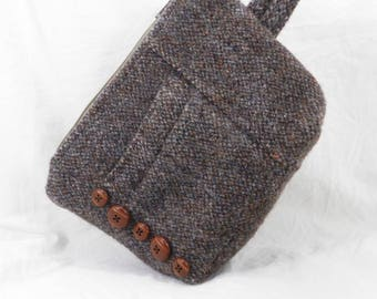 Wool Wristlet, Brown Tweed, Make Up Bag, Small Purse, Carry All, Handmade Purse, Gadget Pouch, Eco Friendly, Cell Phone Case