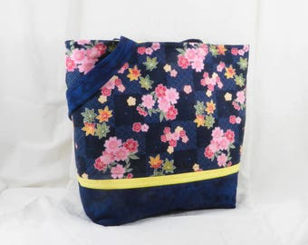 Blue Handbag, Japanese Fabric, Floral Fabbric, Pink and Blue, Small Tote, Summer Purse, Yellow and Blue
