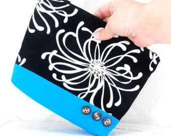 Bridesmaid Gift, Make Up Bag, Black and White, Handmade Clutch, Make up Pouch, Cosmetic Bag, Zippered Pouch