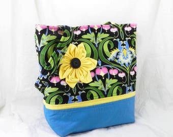 Medium Tote Bag, Handmade Large Purse, Jane Sassman, LibraryTote, Blue Iris, Forget Me Not, Library Tote, Flower Applique