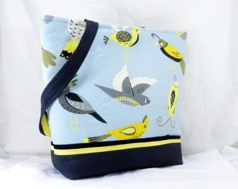 Shoulder Bag, Aviary Tote, Waverly Fabric, Medium Library Bag, Grey and Blue, Handmade Tote, Work Bag, Shoulder Bag