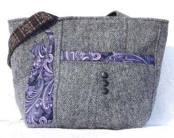 Handmade Wool Purse, Harris Tweed Bag, Paisley Cat, Upcycled Handbag