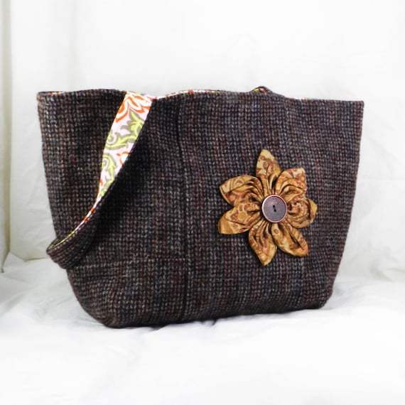 4261abab35 Harris Tweed Handmade Wool Purse Brown Tweed Shoulder Bag