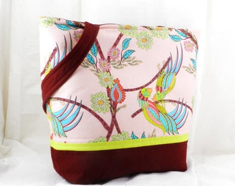 Handmade Medium Tote, Parrot Fabric, Shoulder Bag, Flock Together
