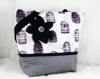 Birdcage Purse, Medium Shoulder Bag, Handmade Grey Tote, Uncaged Words, Katarina Rocella, Wonderland Fabric, Library Bag