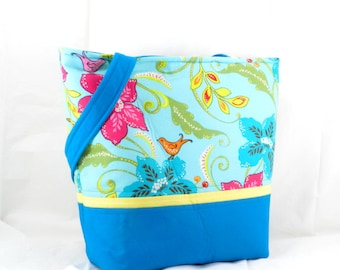 Handmade Large Bag, Brother Sister, Design Studio, Shoulder Bag, Blue and Aqua, Library Tote, Floral Print, Fun Summer Purse