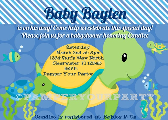 Turtle invitation turtle baby shower invite sea invitation etsy image 0 filmwisefo
