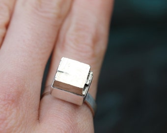 Pyrite Cube Ring - Sterling Silver - Size 6.25 - Ready to Ship