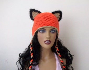 3695f79418d Fox Hat -Crochet Baby Hat-Fox Hat with Earflaps - adult size