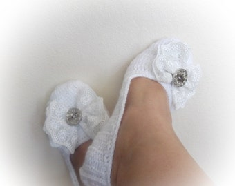 Wedding  booties with bow-Adult Size-White Crochet Slippers with Lace Bow
