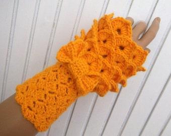 Yellow Crocodile Stitch Gauntlets-Fingerless Gloves-Victorian gloves