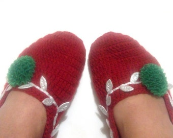 Christmas Crochet Slippers-Adult size-Red  Mary jane slippers-Please select one (A,B,C,D or E)