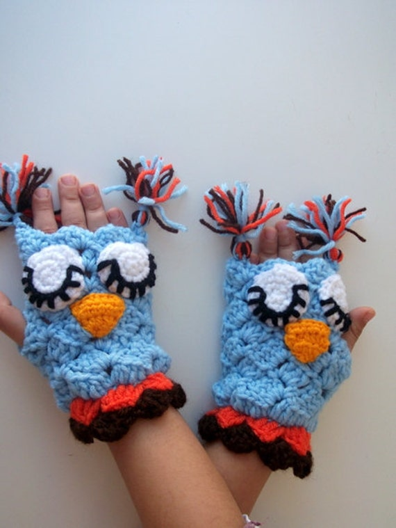 Blaue Eule Fäustling Häkeln Owl Handschuhe Für Baby Oder Etsy