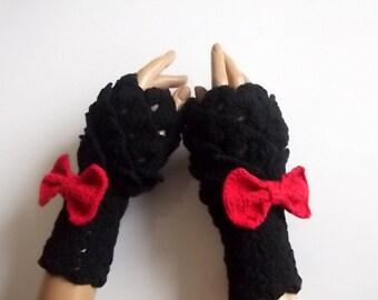 Valentine Gift-Black Crocodile Stitch Gauntlets-red bow tie-Fingerless Gloves-Victorian gloves