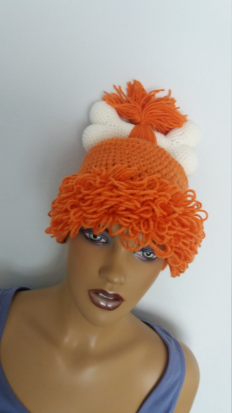 Orange Crochet Flintstone Inspired Pebbles Wig HatOrange  486b9e212eeb