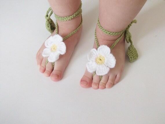 Gänseblümchen Baby Spitze Sandalen-häkeln Baby barfuss | Etsy