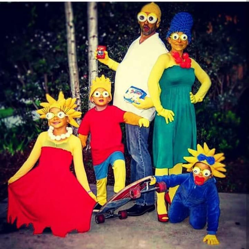 Halloween Costumes Ideas For Family Of 5.Set Crochet 5 Hats Maggie Lisa Marge Homer Bart Simpson Hats Simpson Wig Halloween Costume Ideas For Family Night Costumes