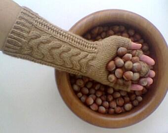 Chocolate-Brown Half Finger- Fingerless Gloves