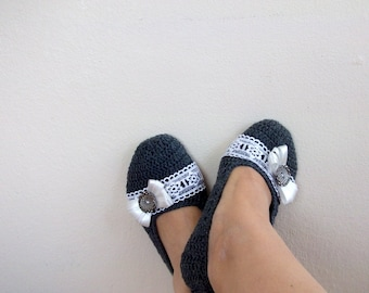 Gray COTTON Crochet Slippers with Lace-Adult Size