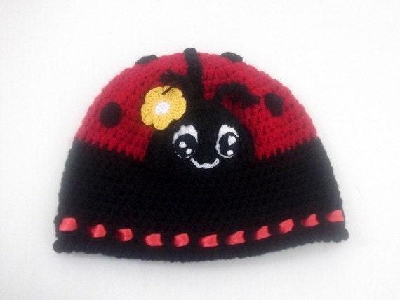 Uncinetto coccinella Hat cappello ragazza cappello di  75df3d16d002