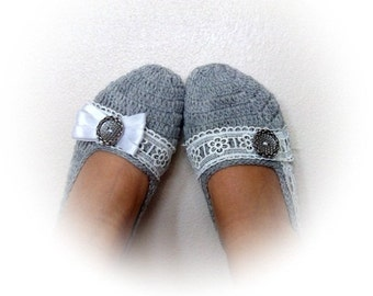 Light Gray Crochet Slippers with Lace-Please select one (A,B or C)-Adult Size