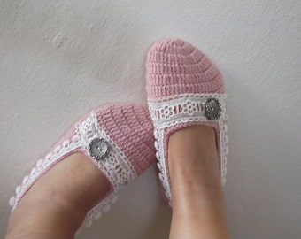 Pale Pink Crochet Slippers with Lace-Adult Size-Blush color Booties
