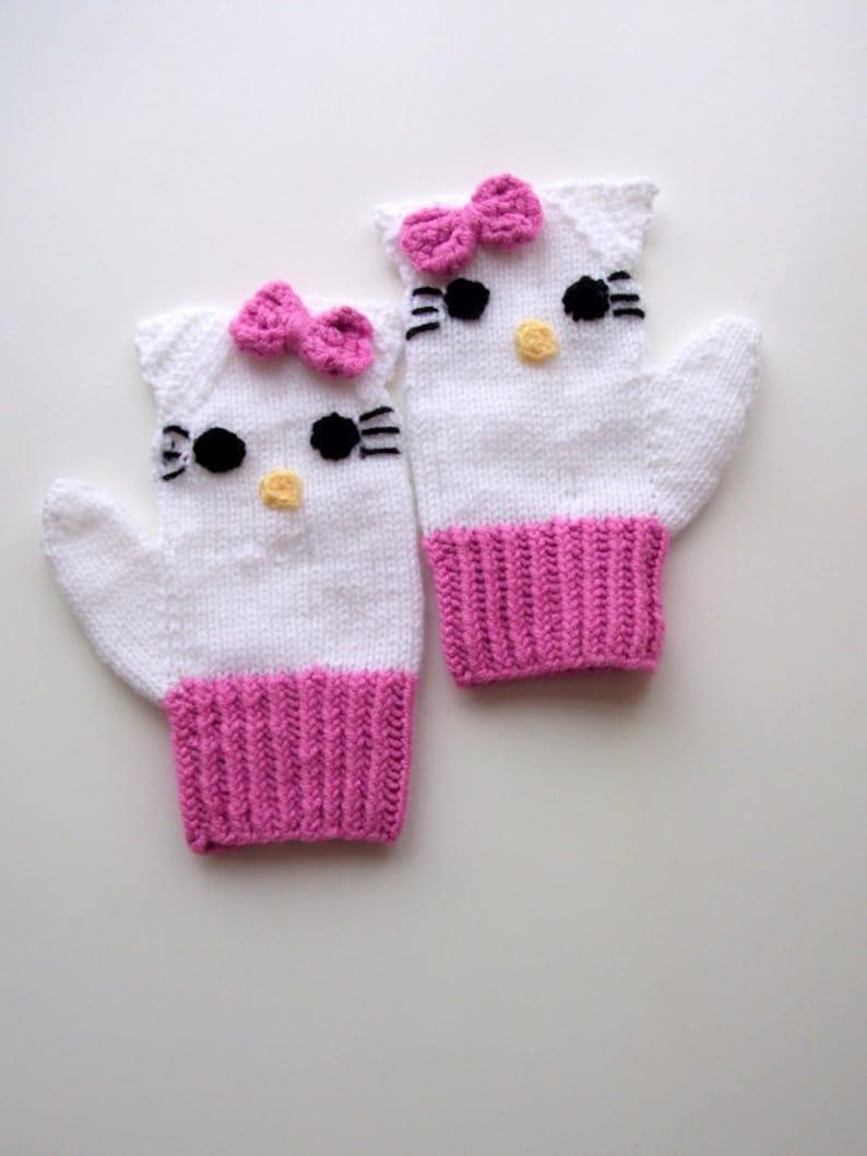 Knitting Kitty Mitten-Knitting Kitty gloves-for girl Baby or Toddler-kids mittens