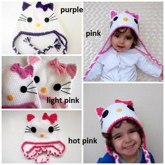 Guantes de ganchillo gorro Kitty y kitty-recién nacido-0-6 | Etsy