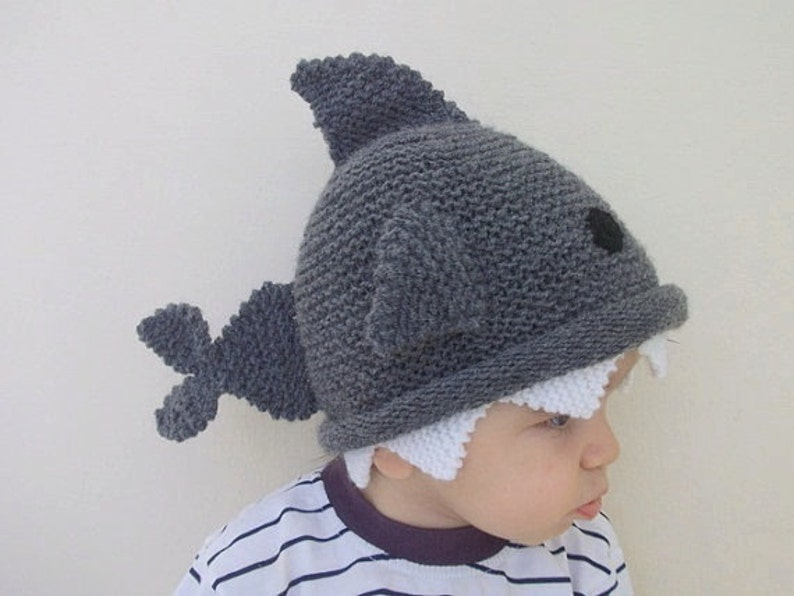 Shark hat Knitting Baby  Hat   for Baby or Toddler-Size 6-12 image 0