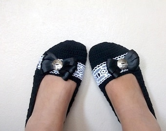 Black COTTON Crochet Slippers with Lace-Adult Size