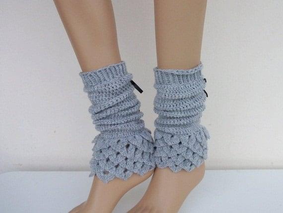 Spats, Gaiters, Puttees – Vintage Shoes Covers Crochet Gray Leg Warmers - Crocodile Stitch Legwarmers $27.65 AT vintagedancer.com