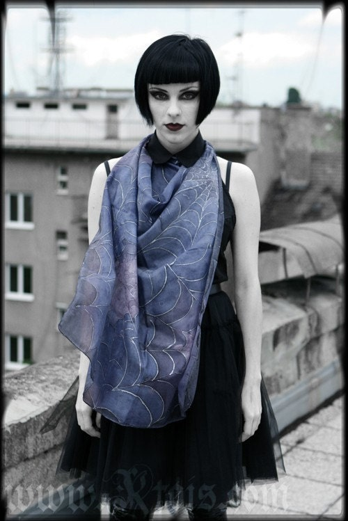 Gothic Silk Scarf Haute Couture Fashion Etsy