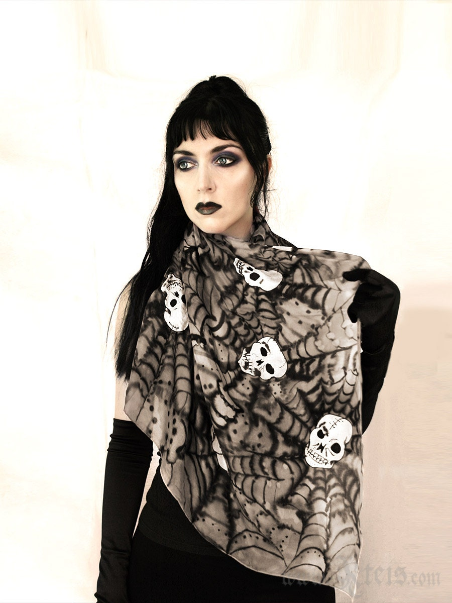 Silk skull scarf day of the dead fashion Etsy