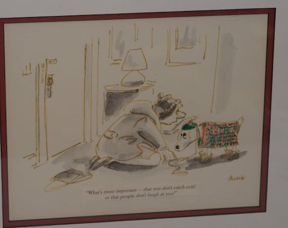 Signed Cartoonist New Yorker Framed Dog Cartoon Dressing up the Dog in Costume Frank Modell 1960s