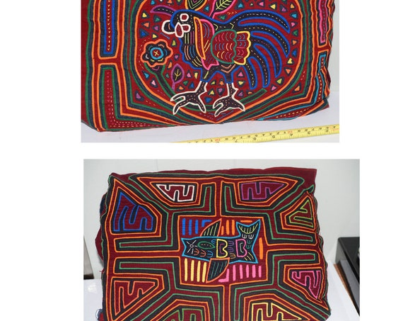 Two vintage Handmade Mola Molas rooster and Fish Hand Sewn Vintage 1970s partially sewn into pillow Panama