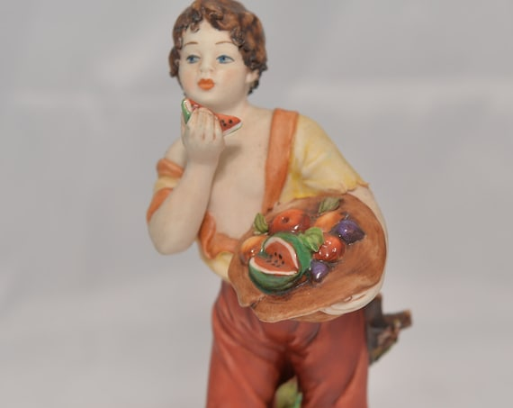 Rori Capodimonte Figurine Boy with Fruit Bowl Bright Colors, Beautiful Hand decorated Figure