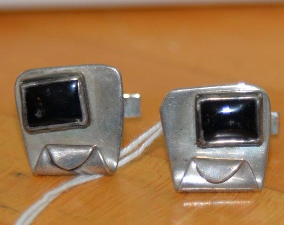 Modernistic  Free Form Abstract Sterling Silver Onyx Stylized Cufflinks Atomic