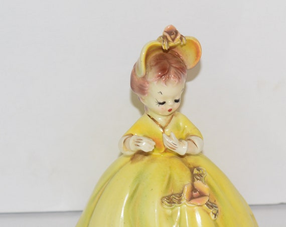 Vintage Cherchez La Femme Arnart  Josef Original Figurine Yellow Dress 7616 Birthday or Southern Bell Porcelain figurine 1960s made in Japan