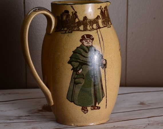 Royal Doulton Pitcher C 1910 The Coachman Series Ware , Old Jarvey  Horse Carriage ,  D3113 7.5 Inch Jug Equestrian Reduced