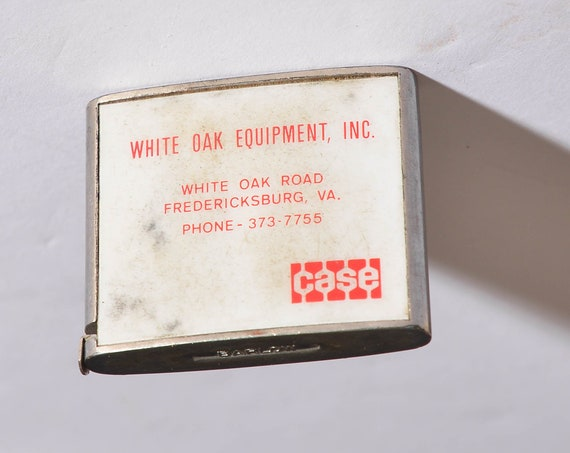 CASE Machines and Equipment Vintage Advertising Barlow Tape Measure White Oak Equipment Fredersicksburg VA