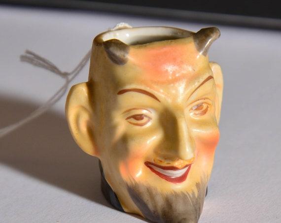Miniature Occupied Japan Toby Jug Devil Face Devil Toby Jug mini 1940-54 Face jug toothpick holder