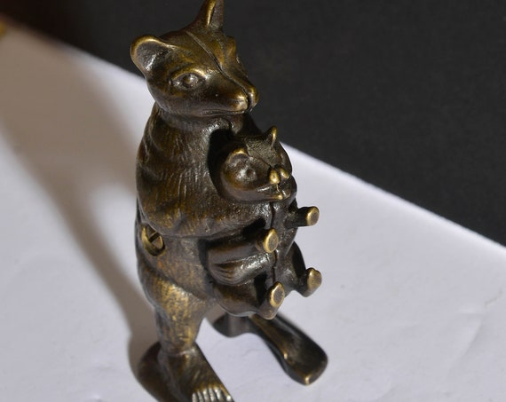 Vintage Solid Cast Metal Coin Bank Bear Stealing a Pig Still bank Vintage Repop of AC Williams Mold