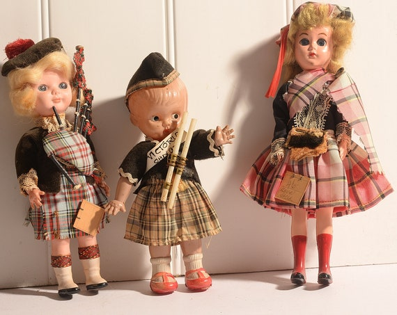 3 souvenir Dolls Kilt Wearing Tartan Plaid, International Dolls 1950s  Nova Scotia, Victoria , Scotland