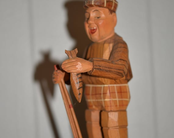 Hand Carved Anri Whimsical Fisherman Figure Statue Fly Fisherman Wood Carving