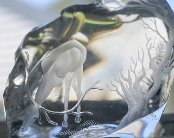 Huge Broken Glass Etched Stag with Tree Swedish Danish Paperweight Mat Jonasson or similar