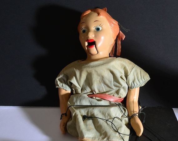 Composition Vintage 1940-50s Disney Marionette Wendy Peter Pan Puppet