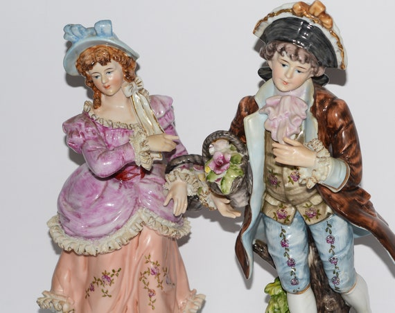 "Pair of 13"" Bisque Dresden Lace Figures Boy and Girl With Flower Baskets C3441 Circa 1940-60 German or Similar Maker High Color and Glaze"